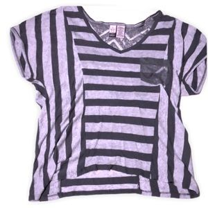Love on a hanger grey Striped top with lace
